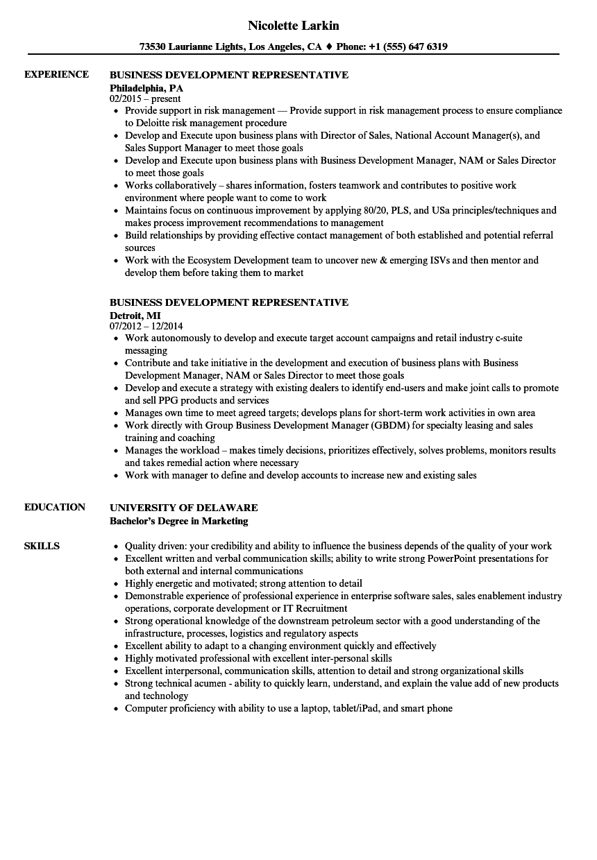 Business Development Representative Resume Samples | Velvet Jobs