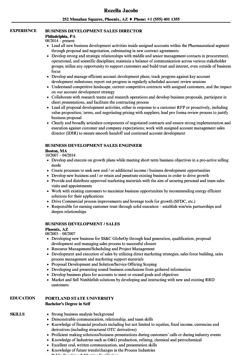 sample resume sales business development