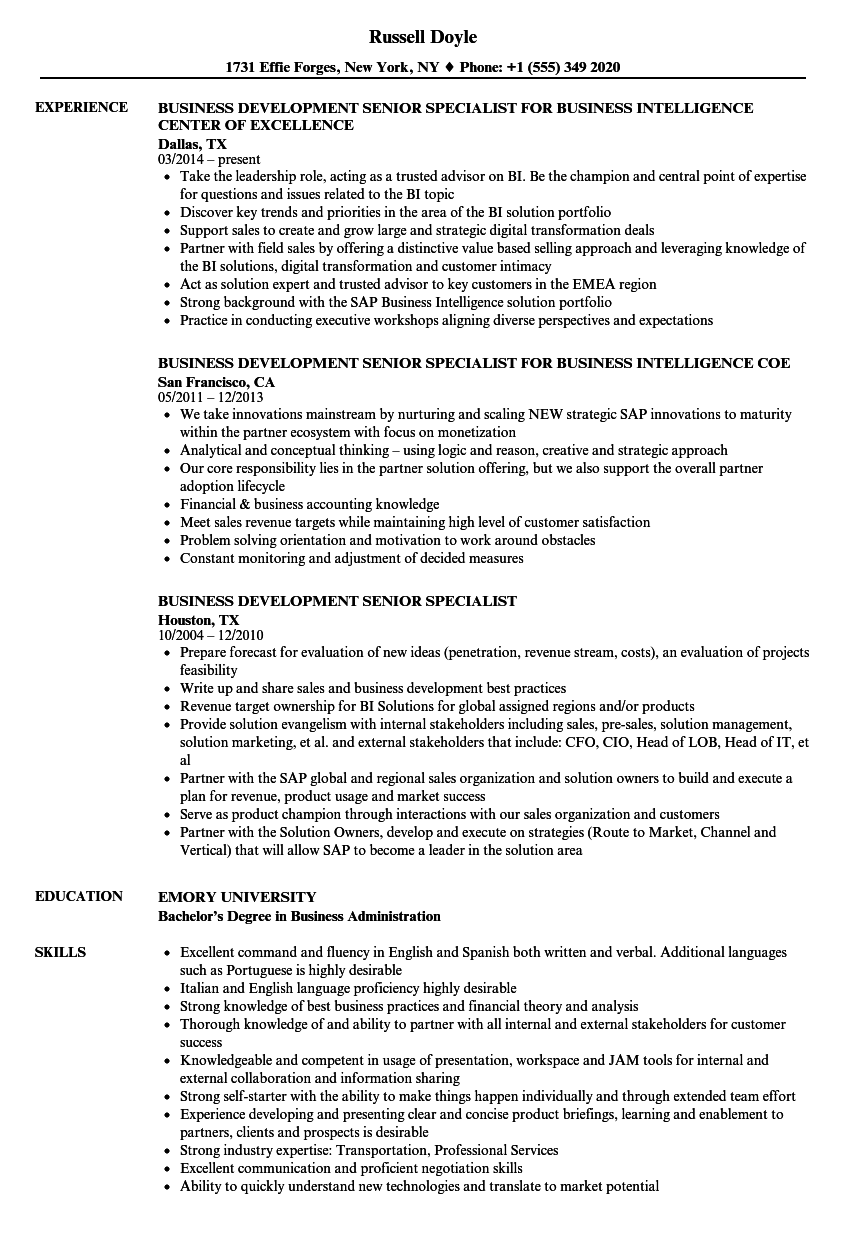 business development senior specialist resume samples