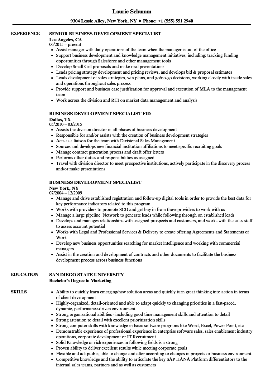 business development specialist resume samples velvet jobs