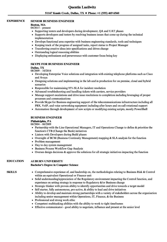 Business Engineer Resume Samples Velvet Jobs
