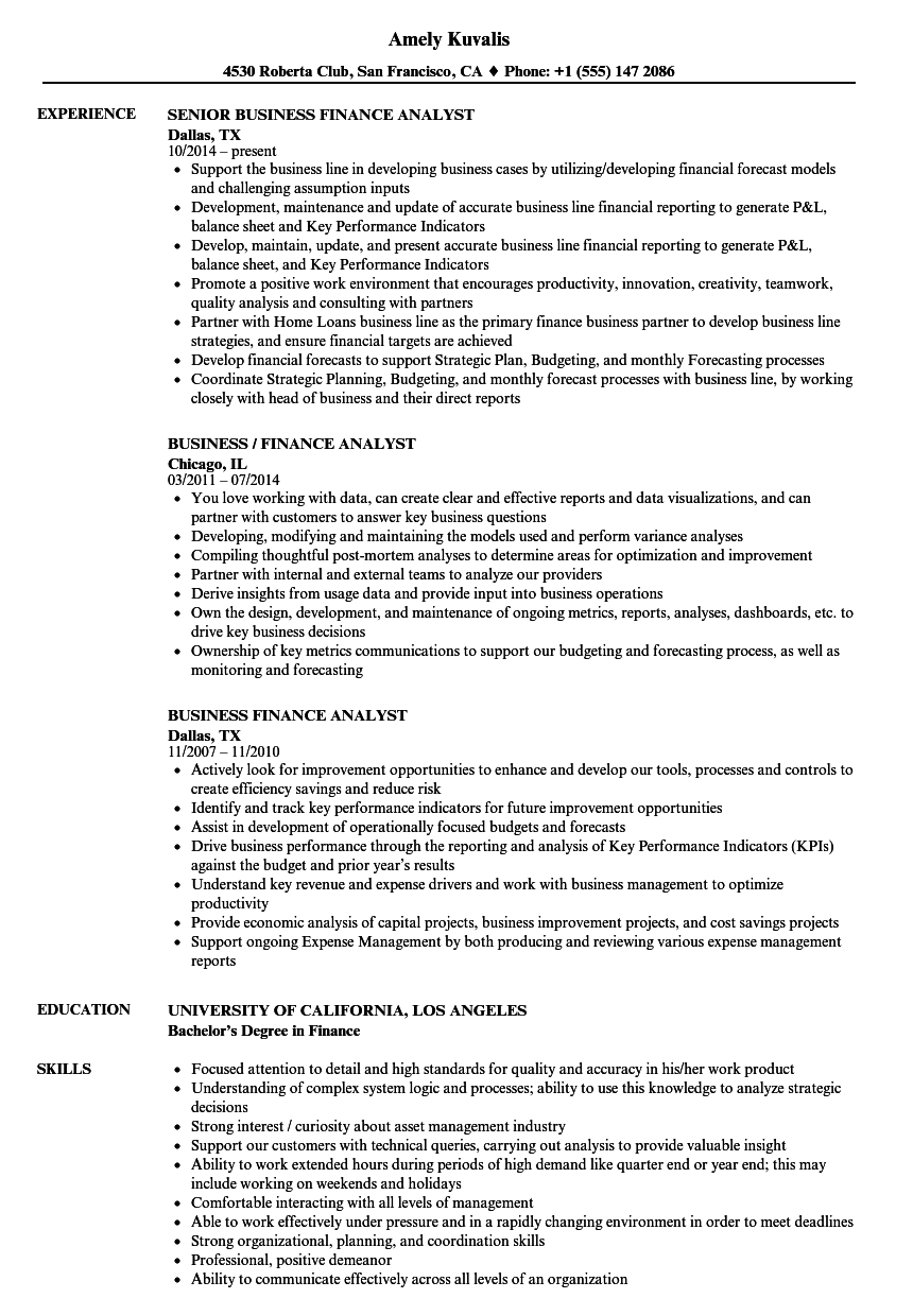 business finance analyst resume samples