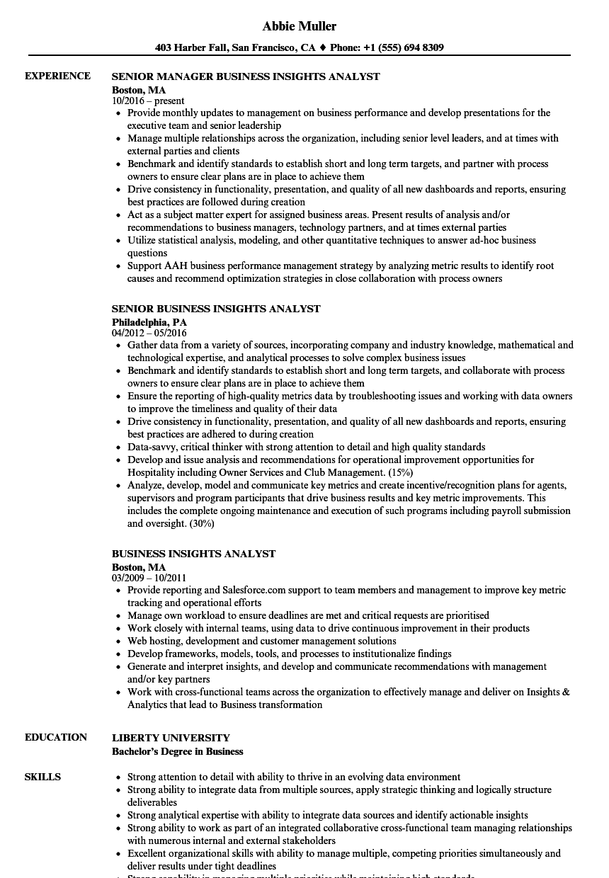 Business Insights Analyst Resume Samples | Velvet Jobs