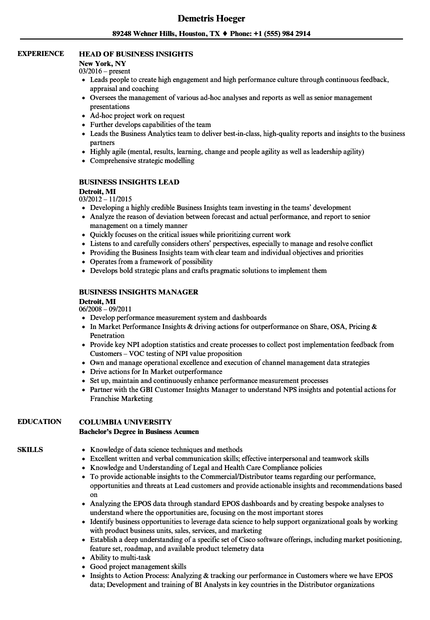 business insights resume samples