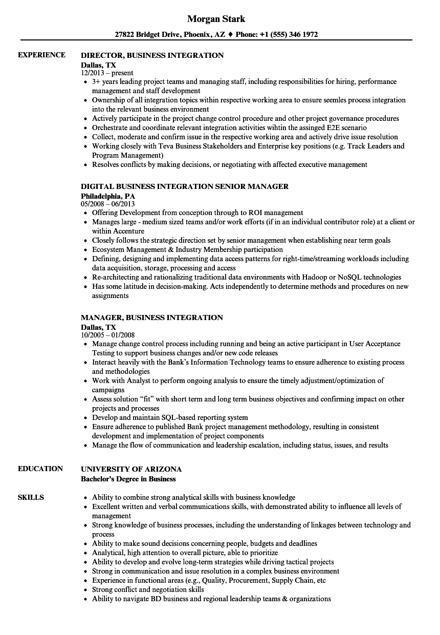 business integration resume samples