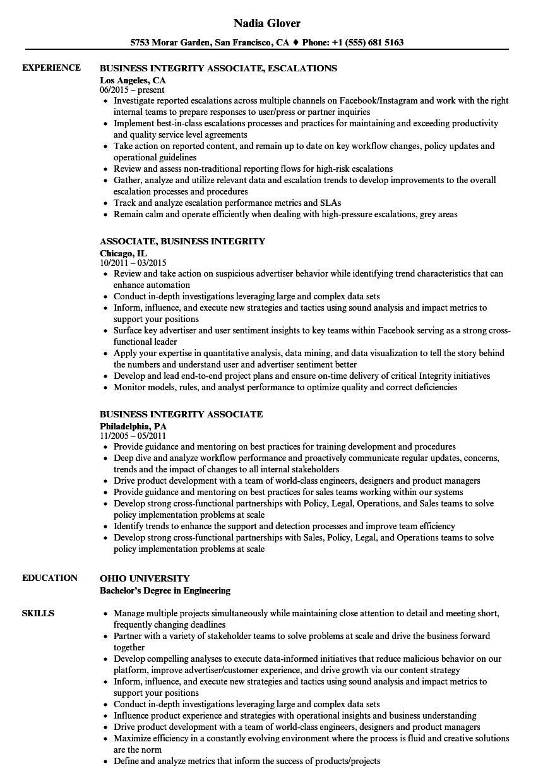 business integrity associate resume samples velvet jobs