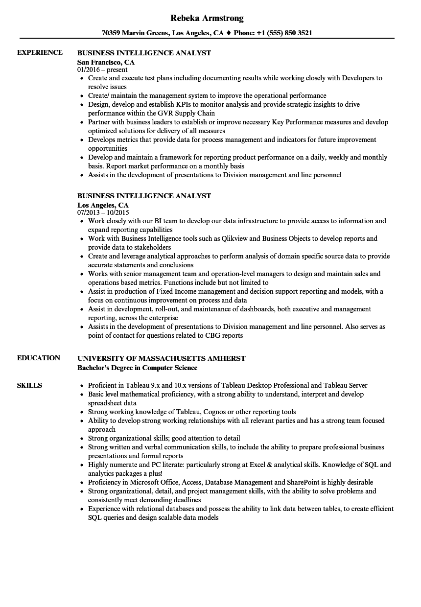 Business Intelligence Analyst Resume Samples | Velvet Jobs
