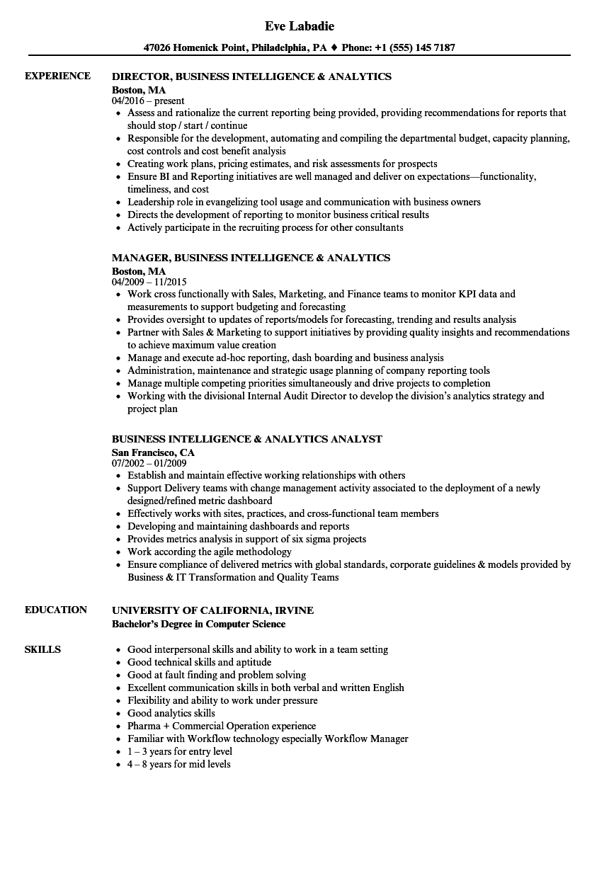 Business Intelligence Analytics Resume Samples | Velvet Jobs