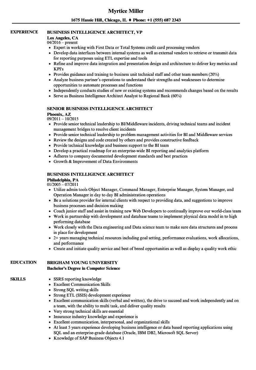 business intelligence architect resume samples