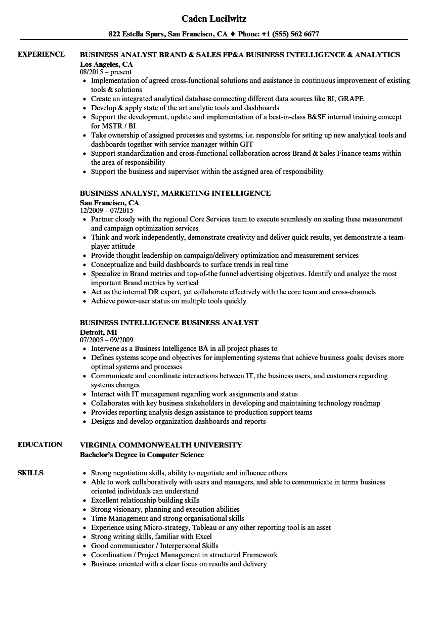 Business Intelligence Business Analyst Resume Samples Velvet Jobs