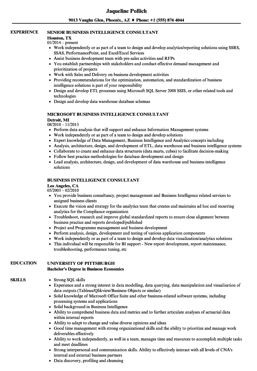 download business intelligence consultant resume sample as image file - Business Consultant Resume Sample