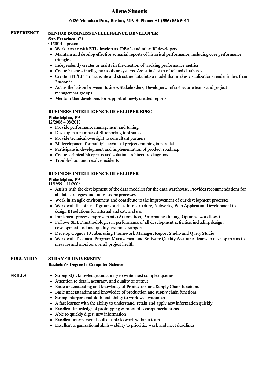 Business Intelligence Developer Resume Samples | Velvet Jobs