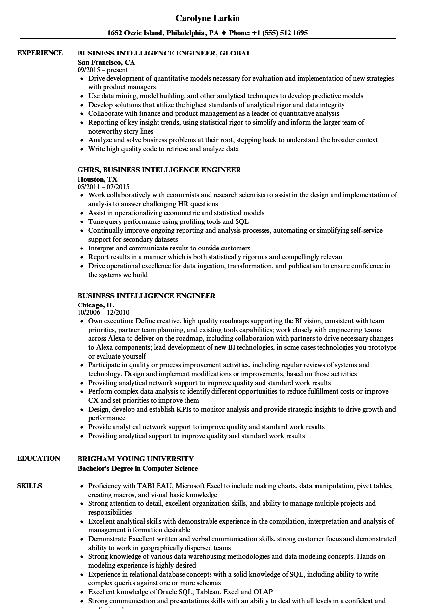 business intelligence engineer resume samples velvet jobs