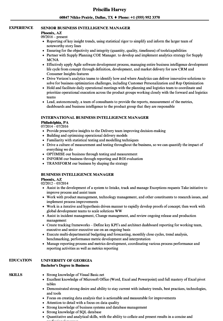 Business Intelligence Manager Resume Samples | Velvet Jobs