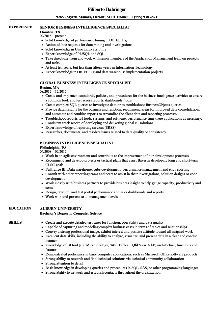 business intelligence specialist resume samples