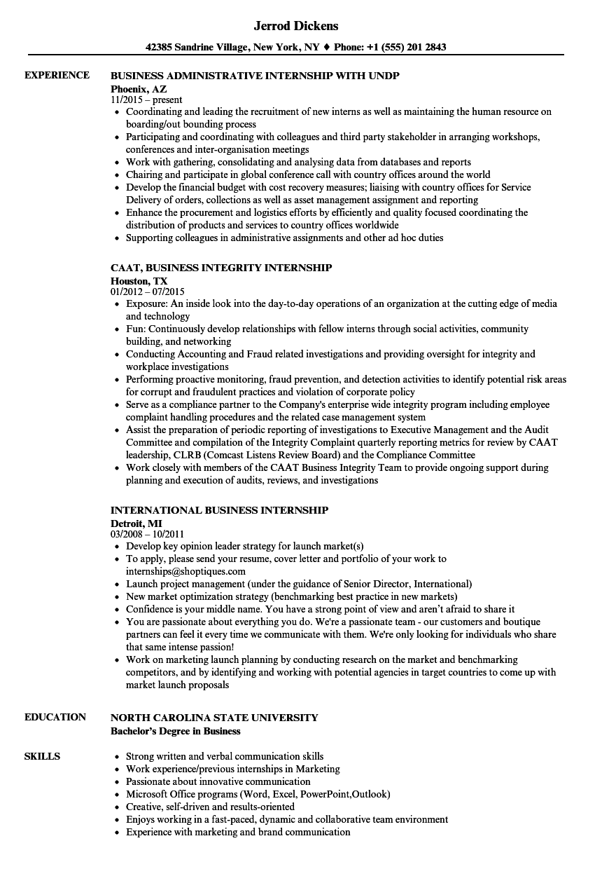 download business internship resume sample as image file - Resume Examples For Business Internships