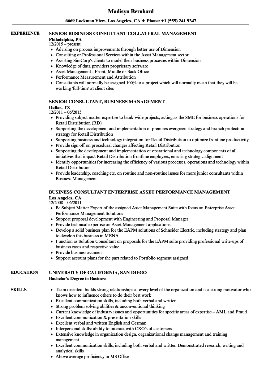 Business Management Consultant Resume Samples | Velvet Jobs