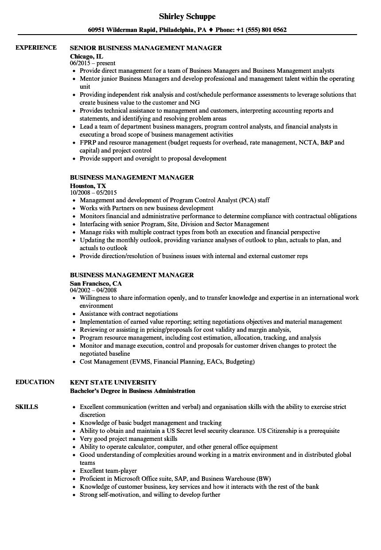 Business Management Manager Resume Samples | Velvet Jobs