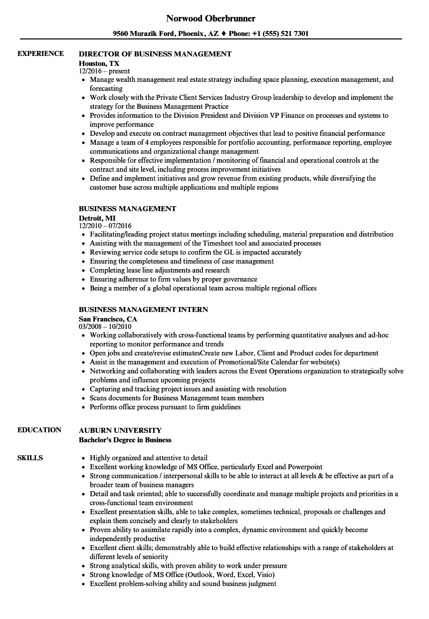 Business Management Resume Samples Velvet Jobs
