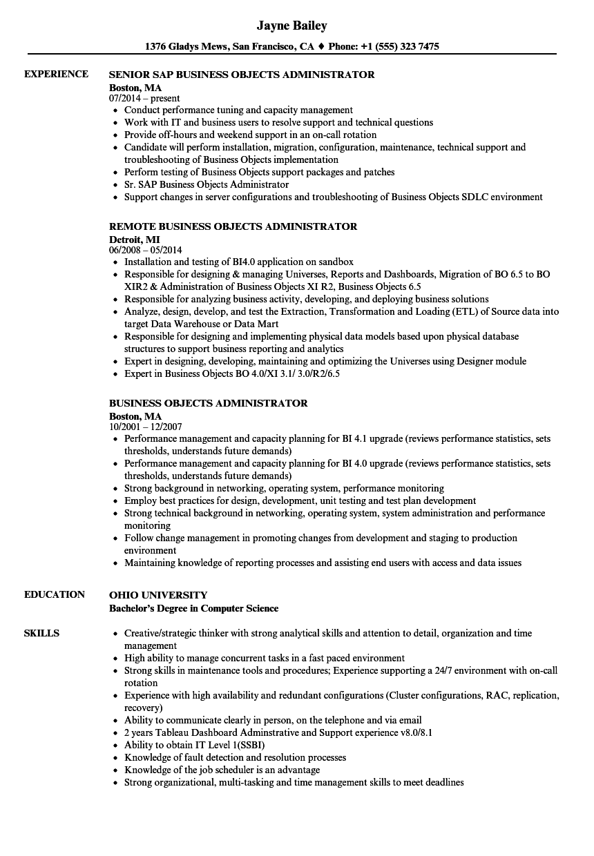 business objects administrator resume samples