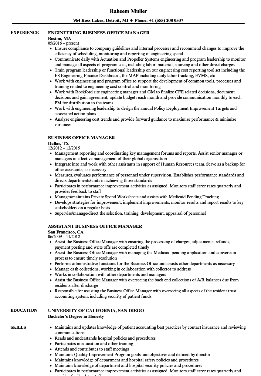 Download Business Office Manager Resume Sample As Image File