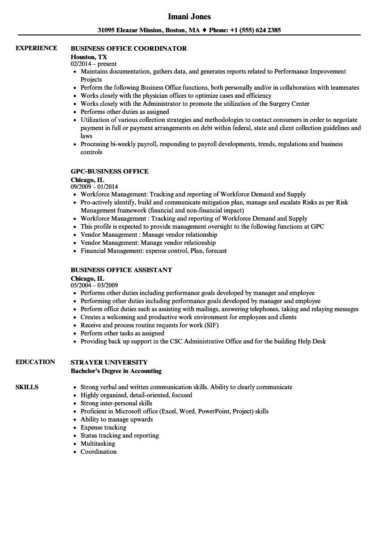 Business Office Resume Samples | Velvet Jobs