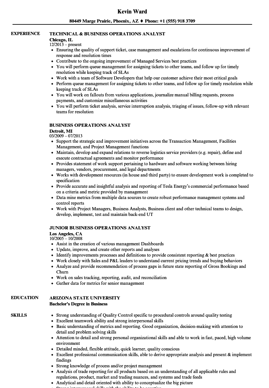 Business Operations Analyst Resume Samples | Velvet Jobs