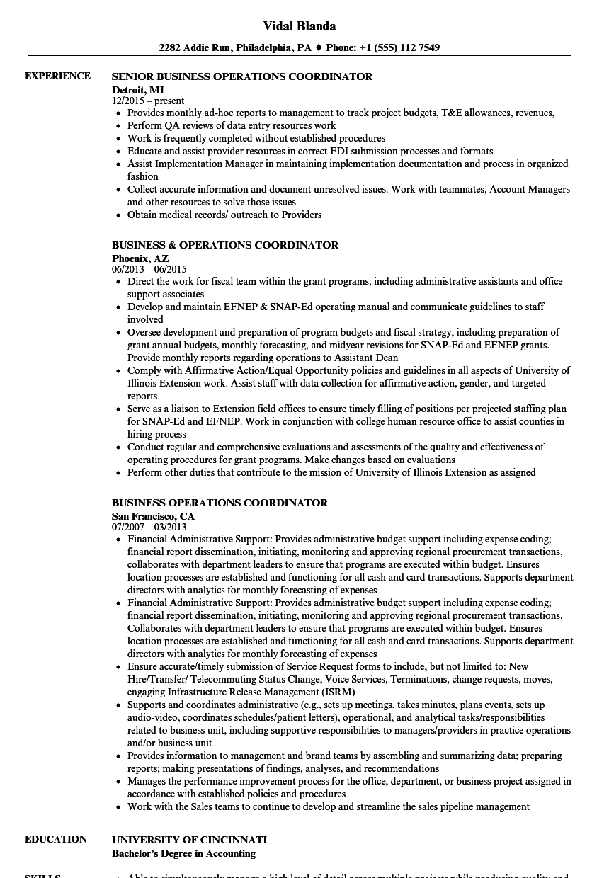 Business Operations Coordinator Resume Samples | Velvet Jobs