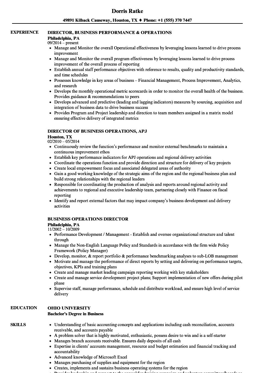 business operations director resume samples velvet jobs