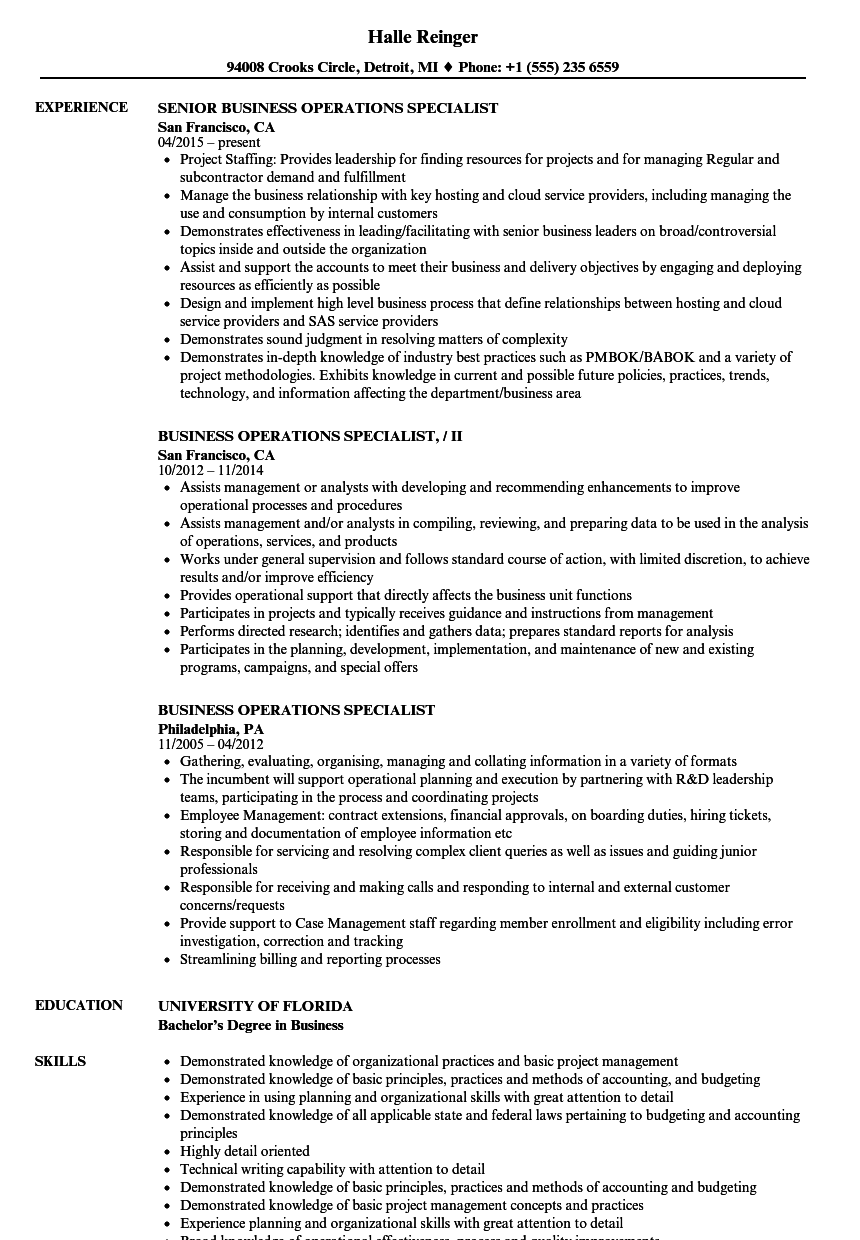 Business Operations Specialist Resume Samples Velvet Jobs