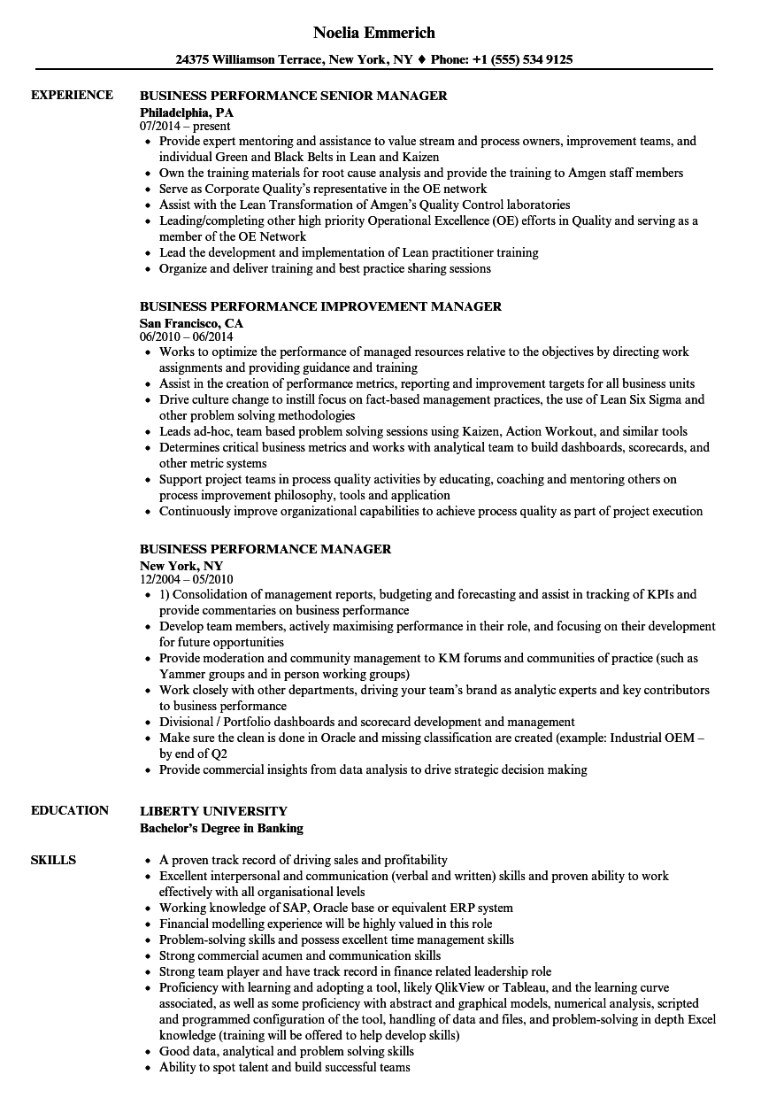business performance manager resume samples
