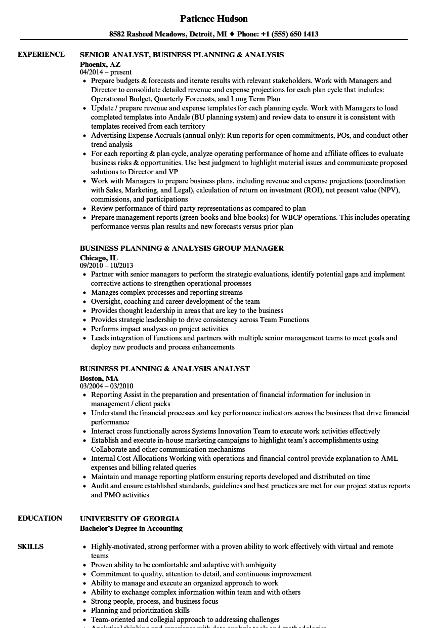 Business Planning Analysis Resume Samples | Velvet Jobs
