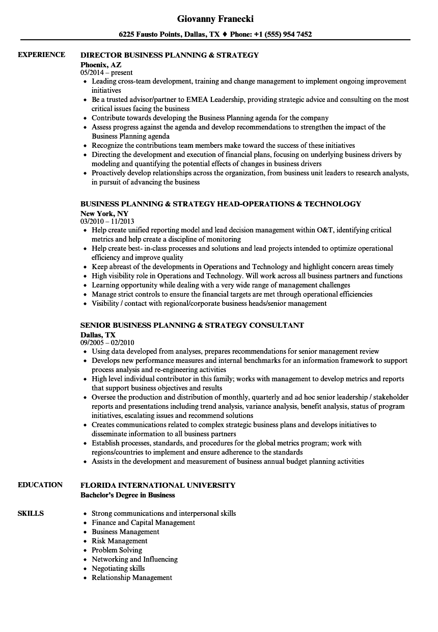 Business Planning Amp Strategy Resume Samples Velvet Jobs