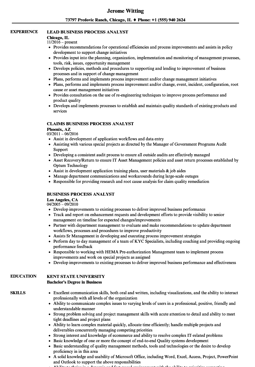 Business Process Analyst Resume Samples | Velvet Jobs