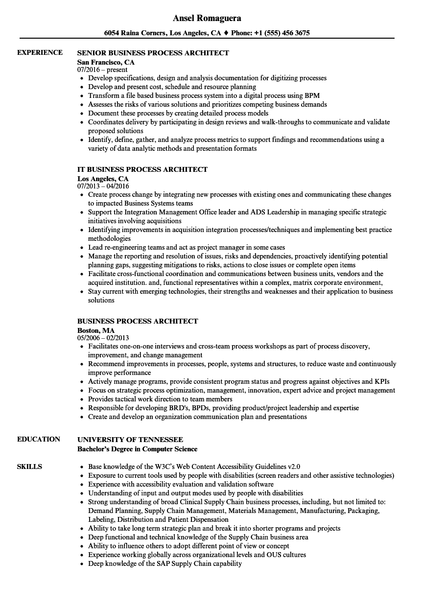 Business Process Architect Resume Samples Velvet Jobs