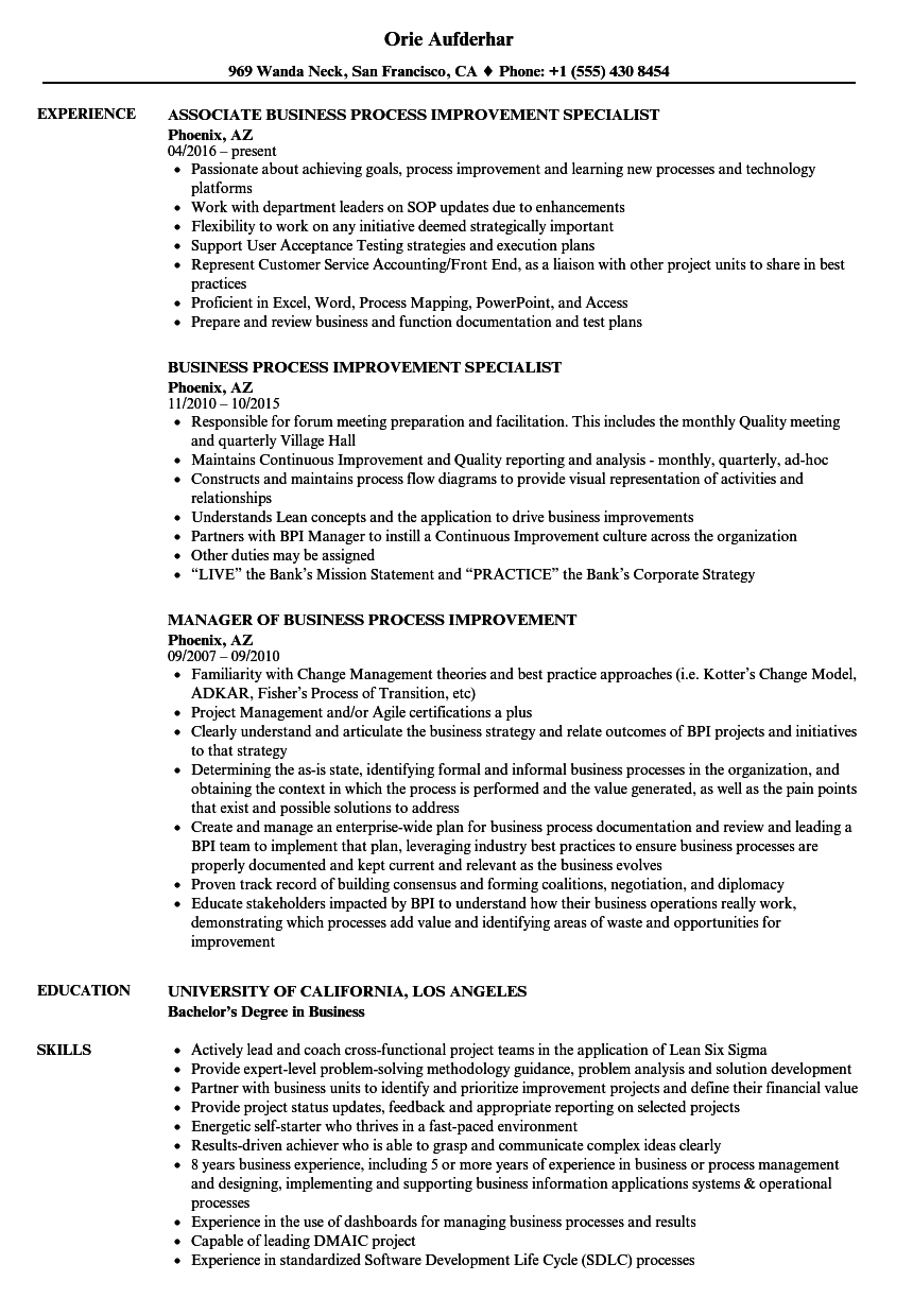 Business Process Improvement Resume Samples Velvet Jobs