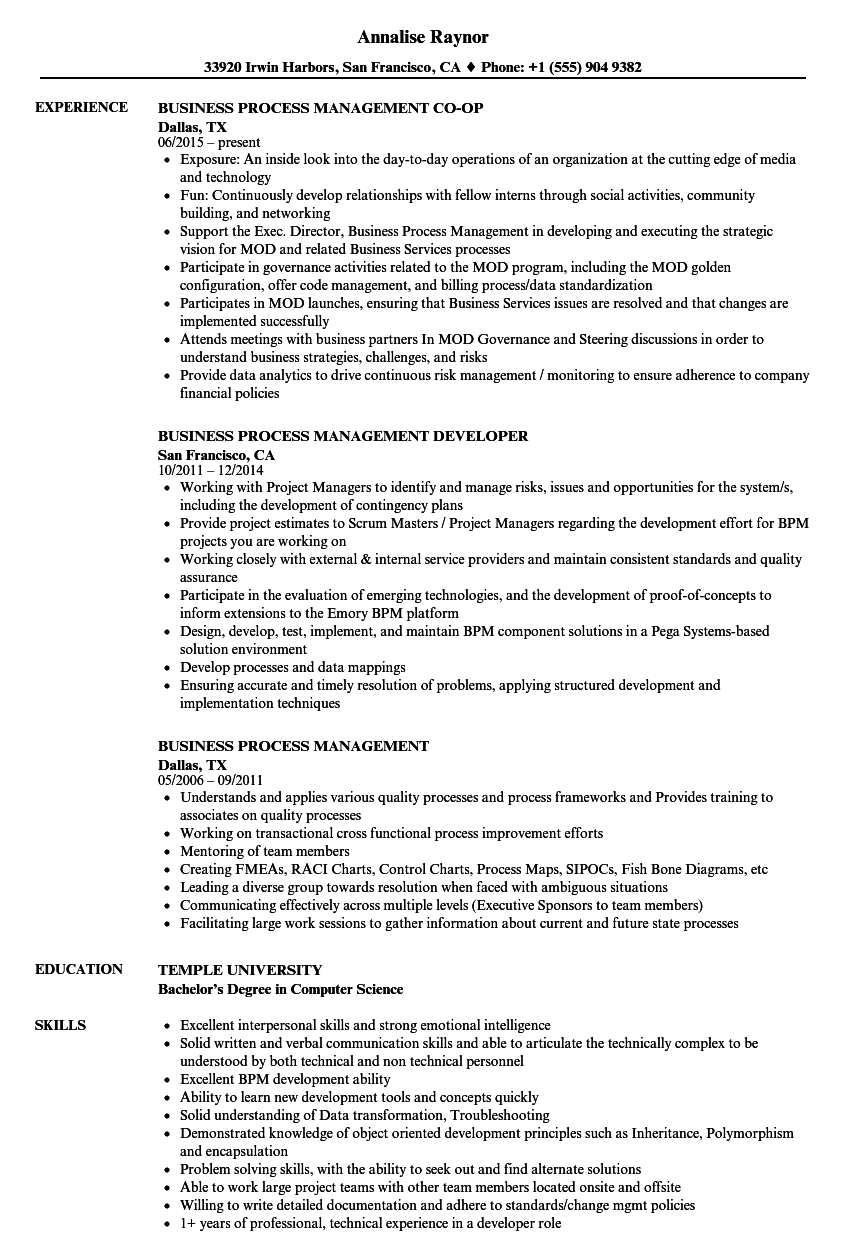 business process management resume samples velvet jobs