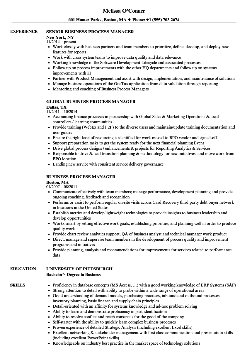 business process manager resume samples