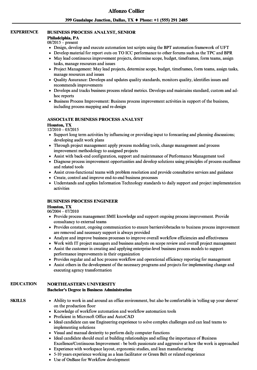 Velvet Jobs  Business Process Analyst Resume