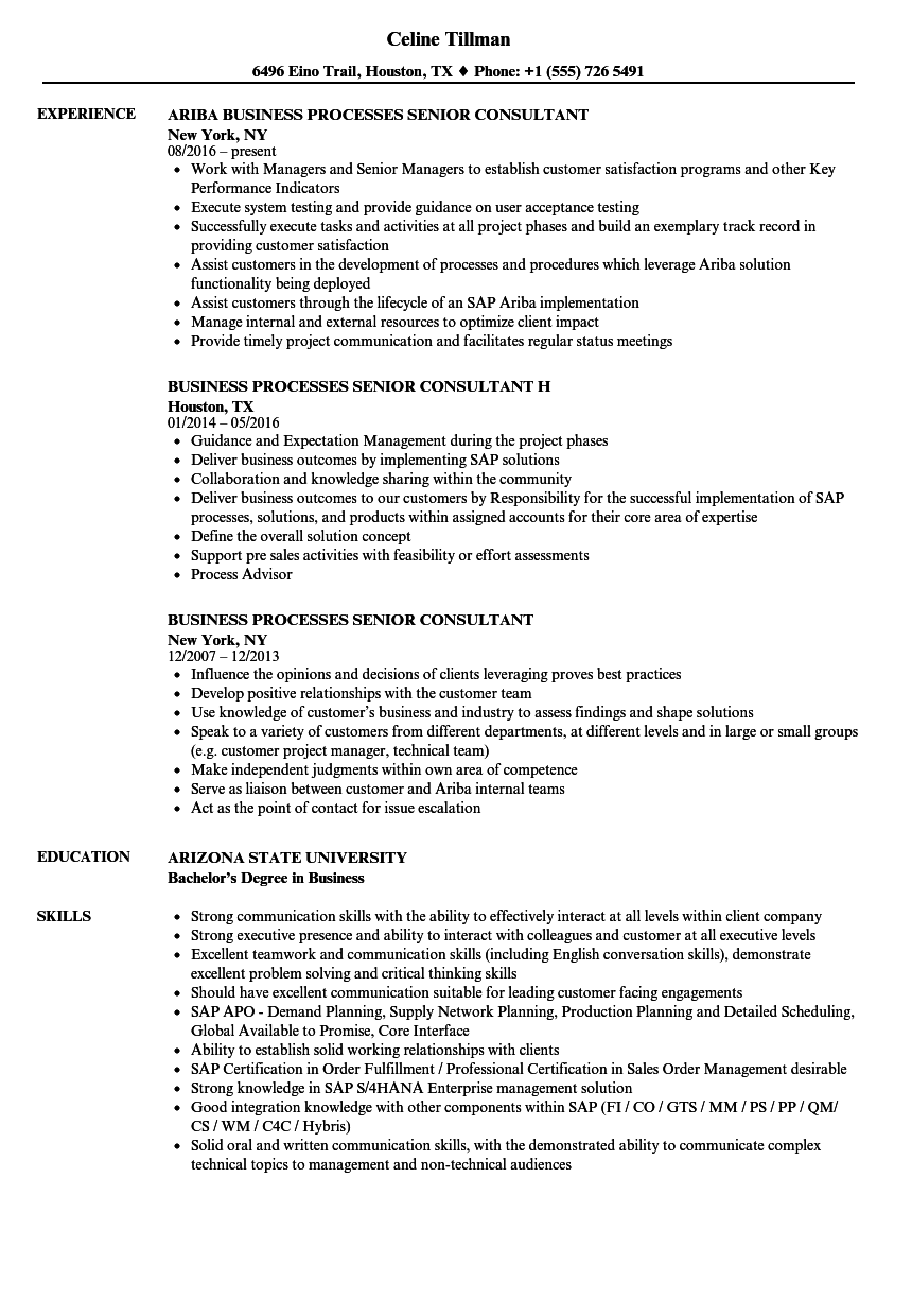 business processes senior consultant resume samples