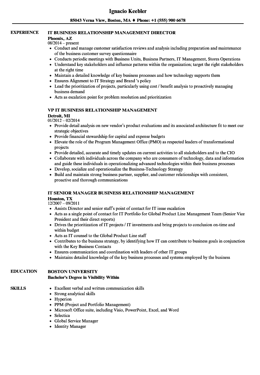 business relationship management resume samples