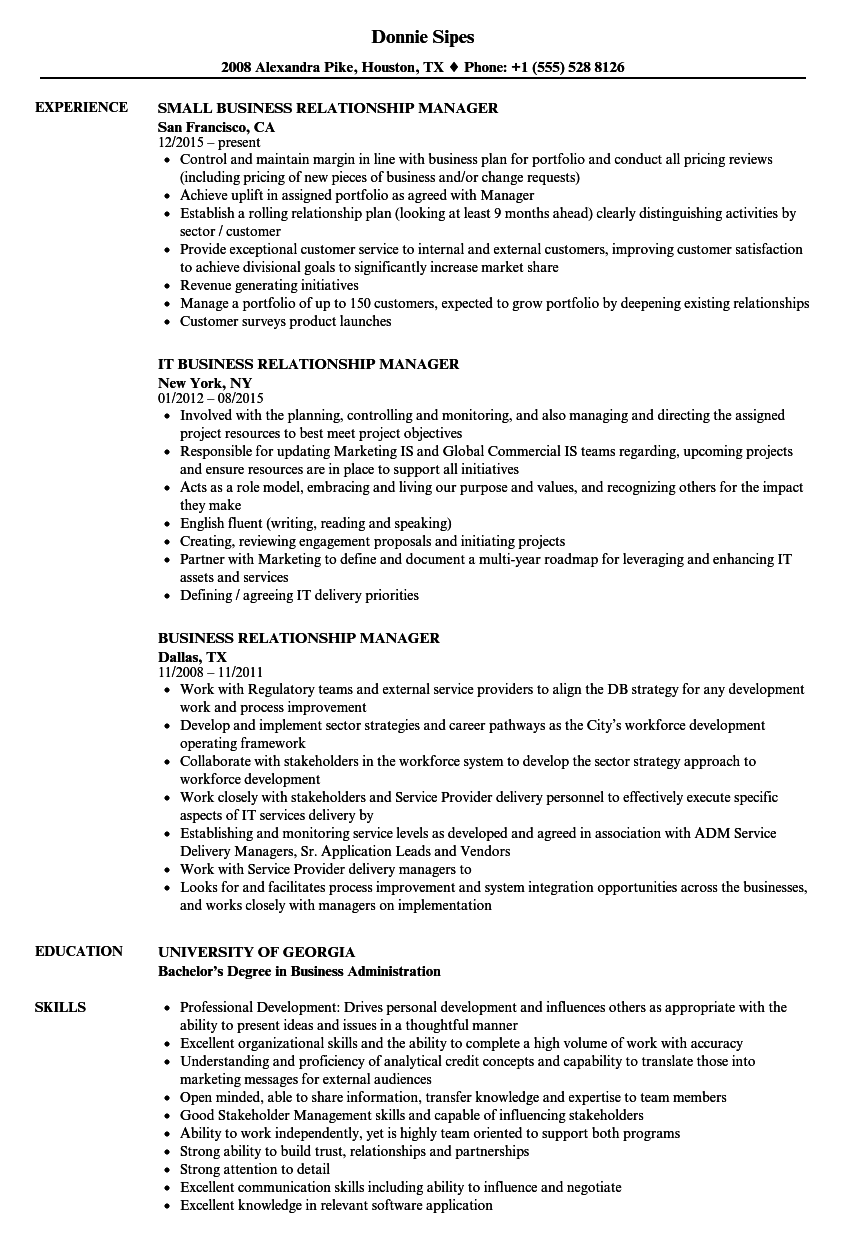 business relationship manager resume samples