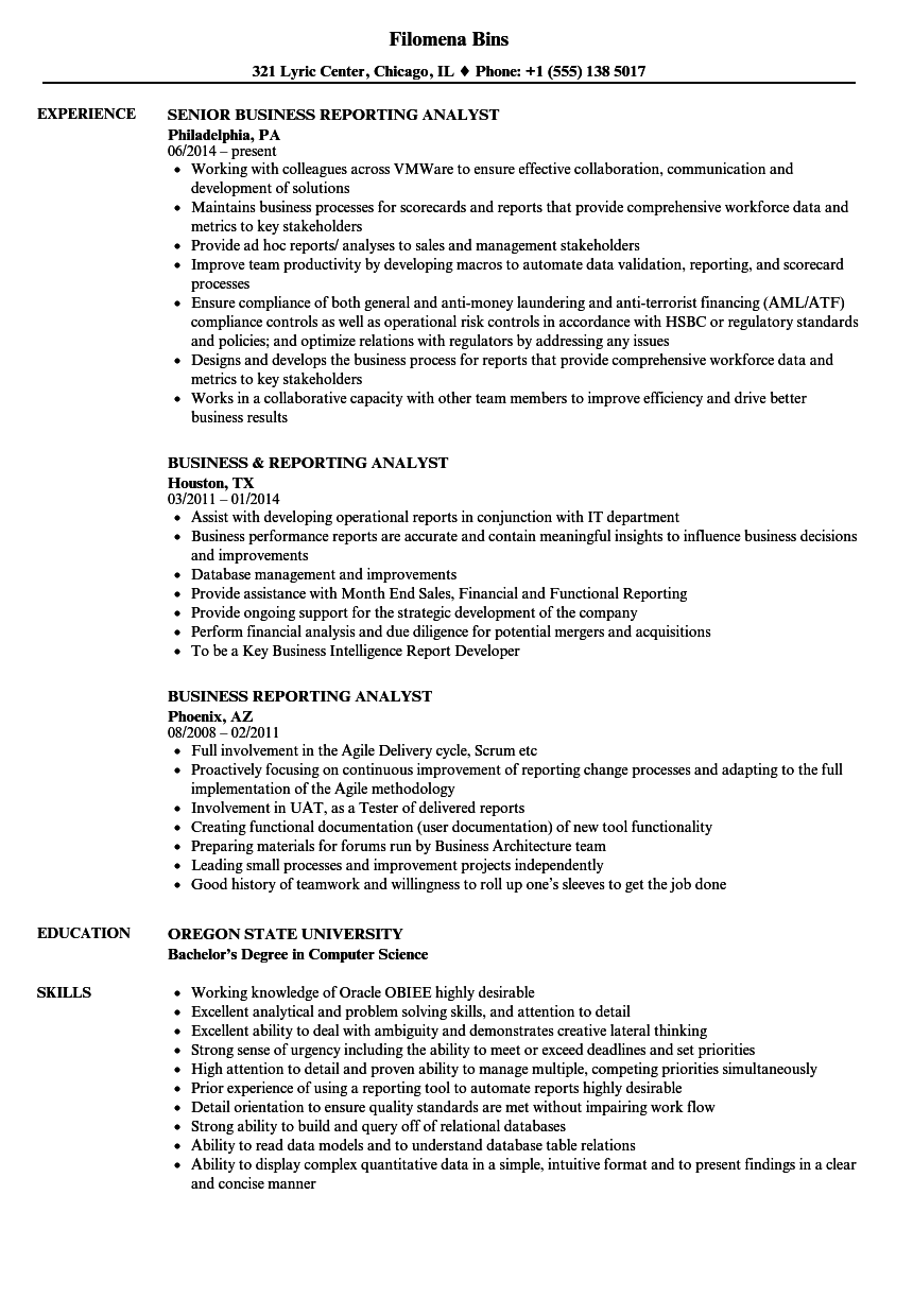business reporting analyst resume samples