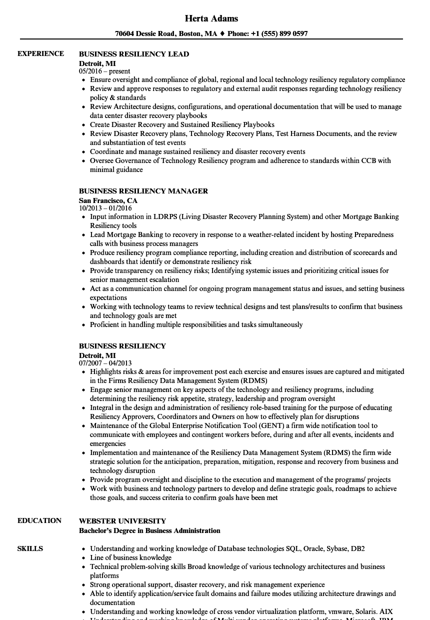 business resiliency resume samples