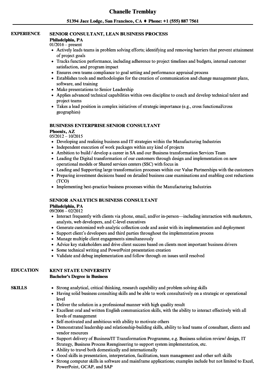 Business Senior Consultant Resume Samples | Velvet Jobs