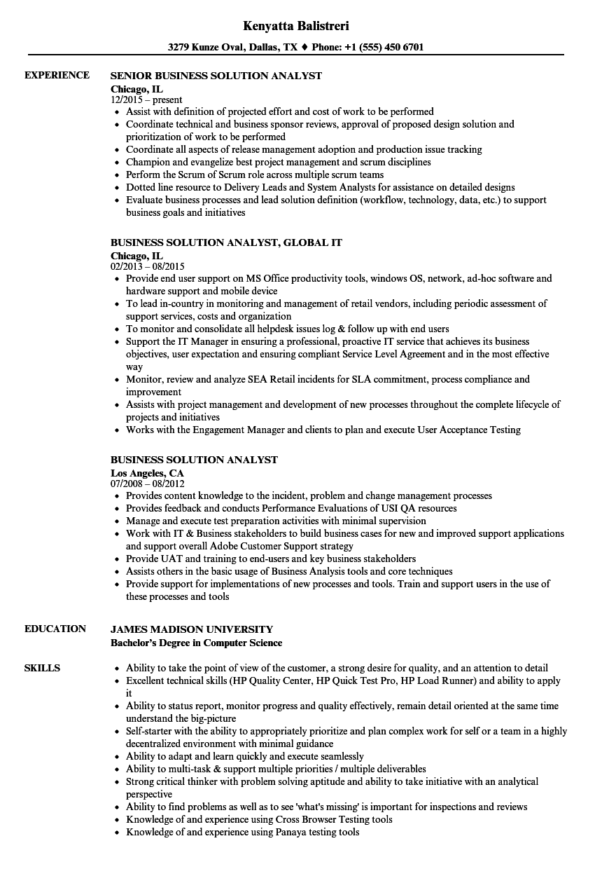 business solution analyst resume samples
