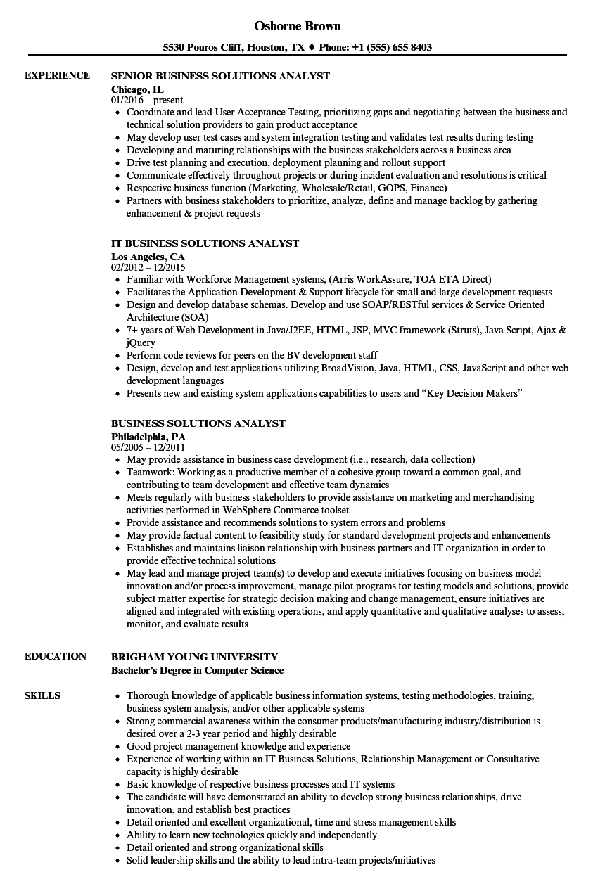Download Business Solutions Analyst Resume Sample As Image File