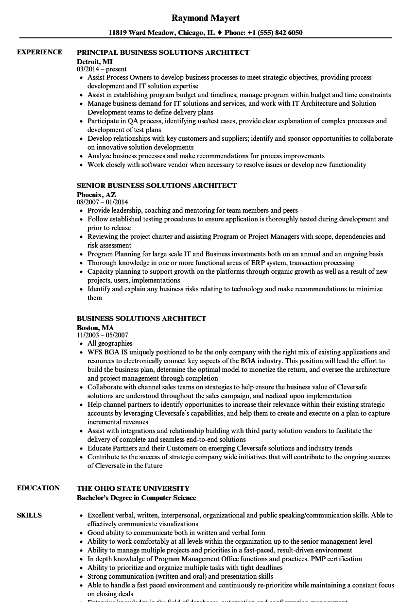 download business solutions architect resume sample as image file - Principal Architect Sample Resume