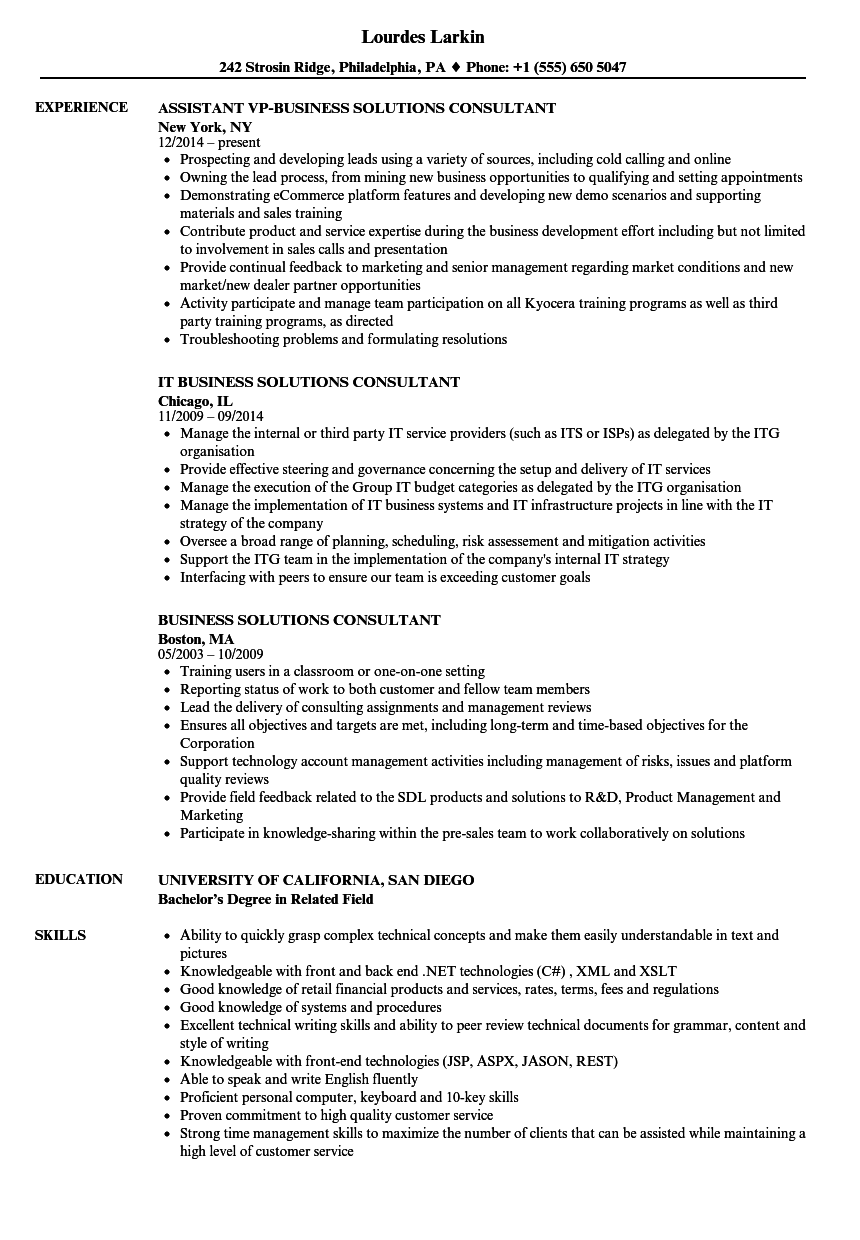 business solutions consultant resume samples
