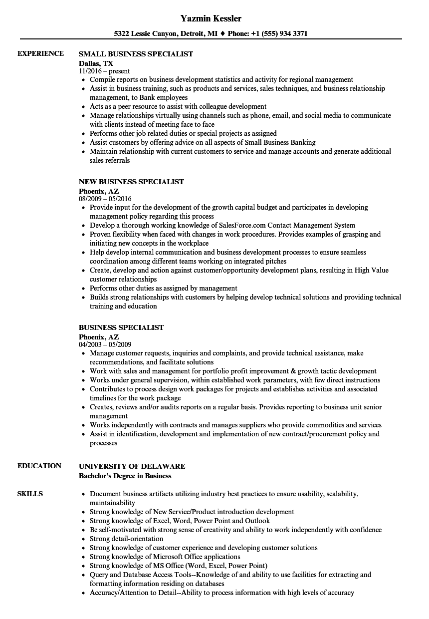 business specialist resume samples